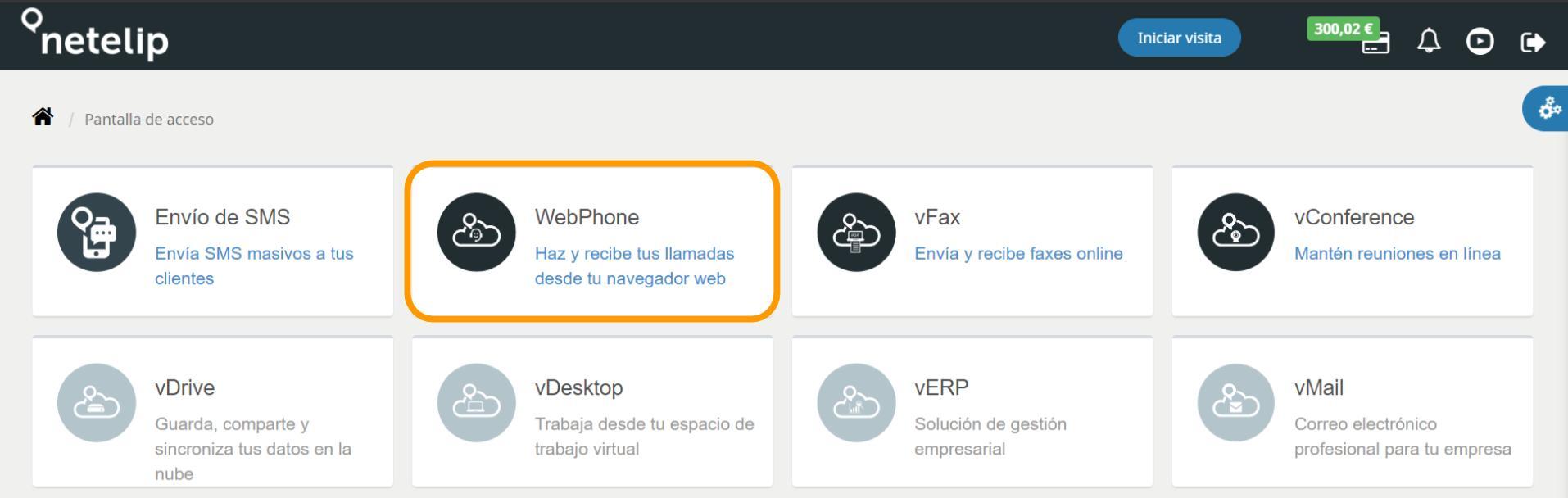 Servicio WebPhone netelip