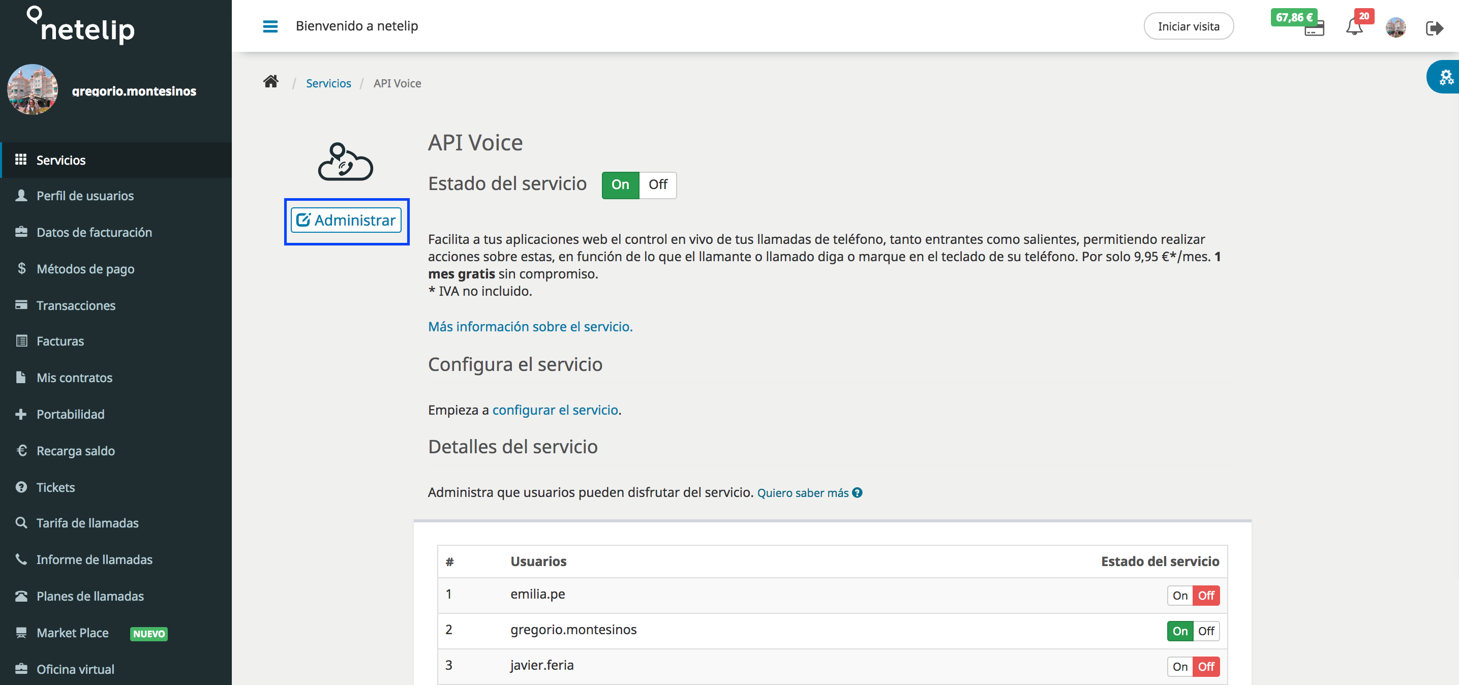 Administrar y gestionar API Voice
