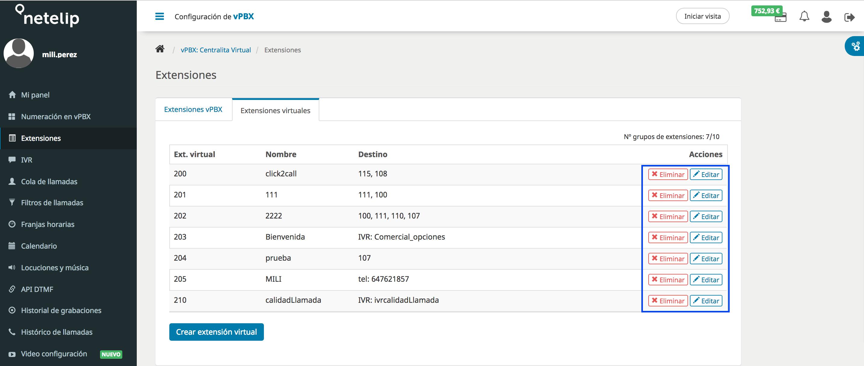 Configurar extensiones virtuales