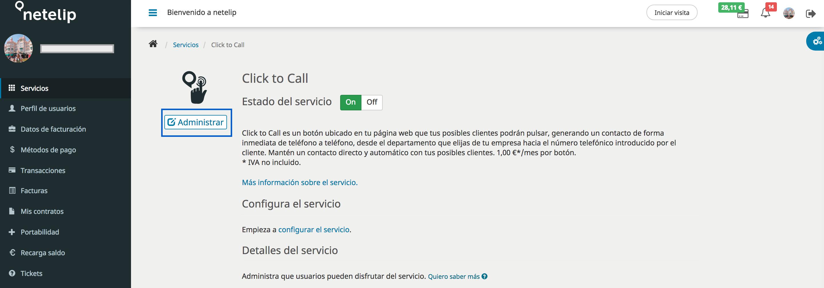 Click to Call activación servicio