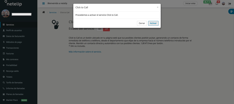 Activación ON Click to Call