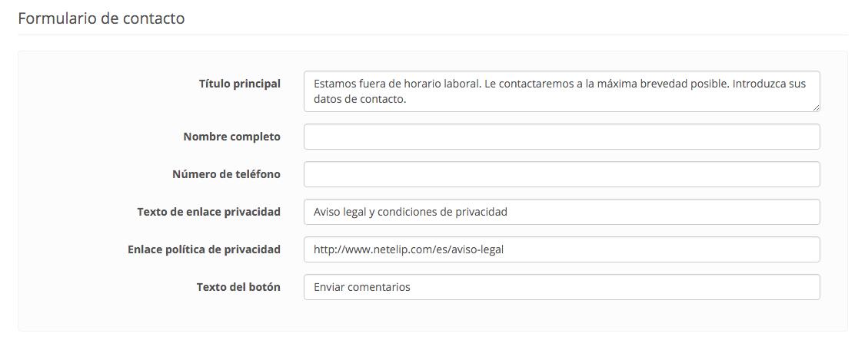 Formulario Click to Call