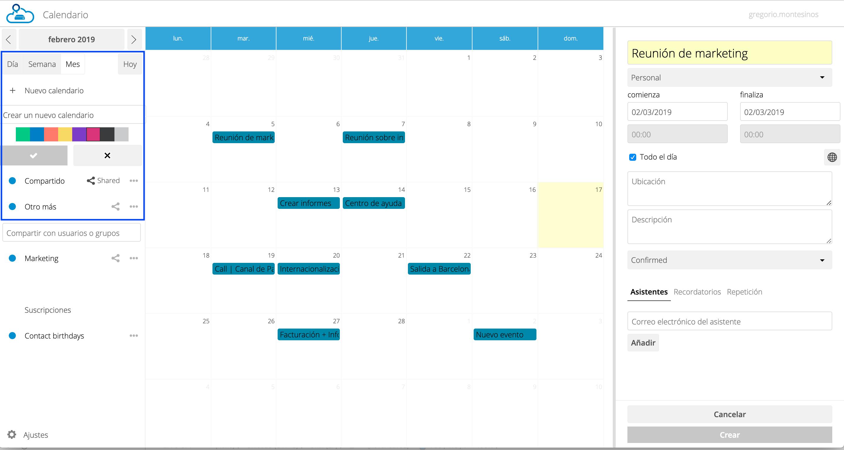 Nuevo calendario en vDrive