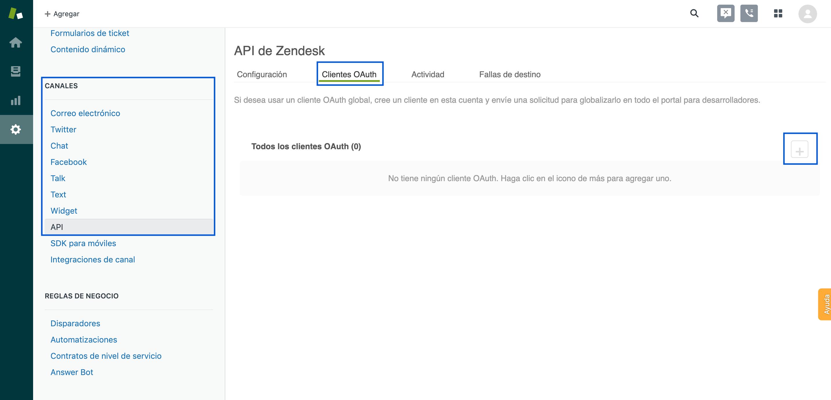 Configurar Zendesk Cliente OAuth