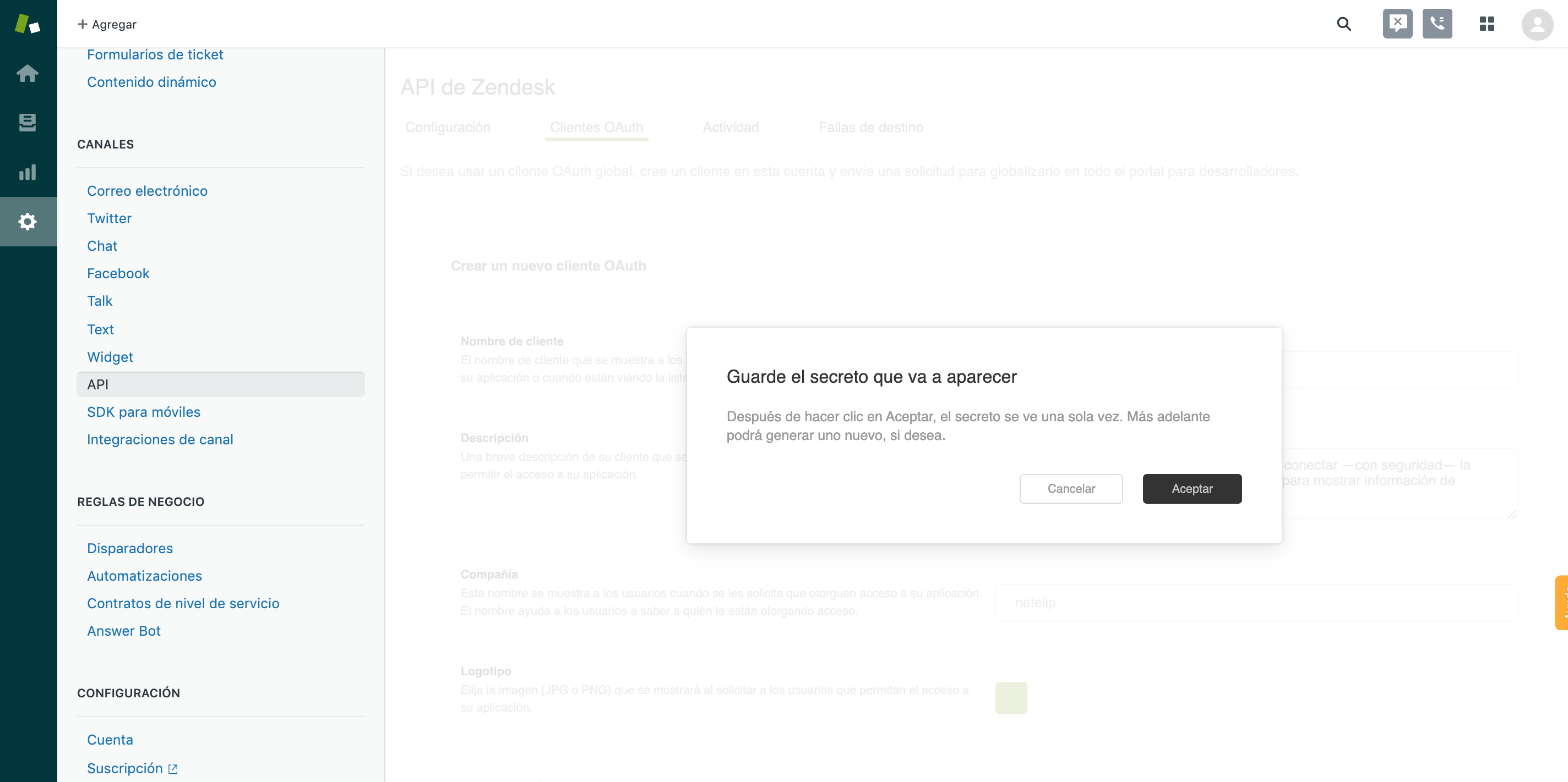 Guardar el Secreto en Zendesk