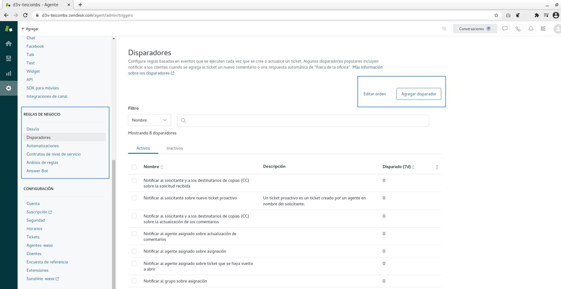 Disparadores en Zendesk para integrar API SMS
