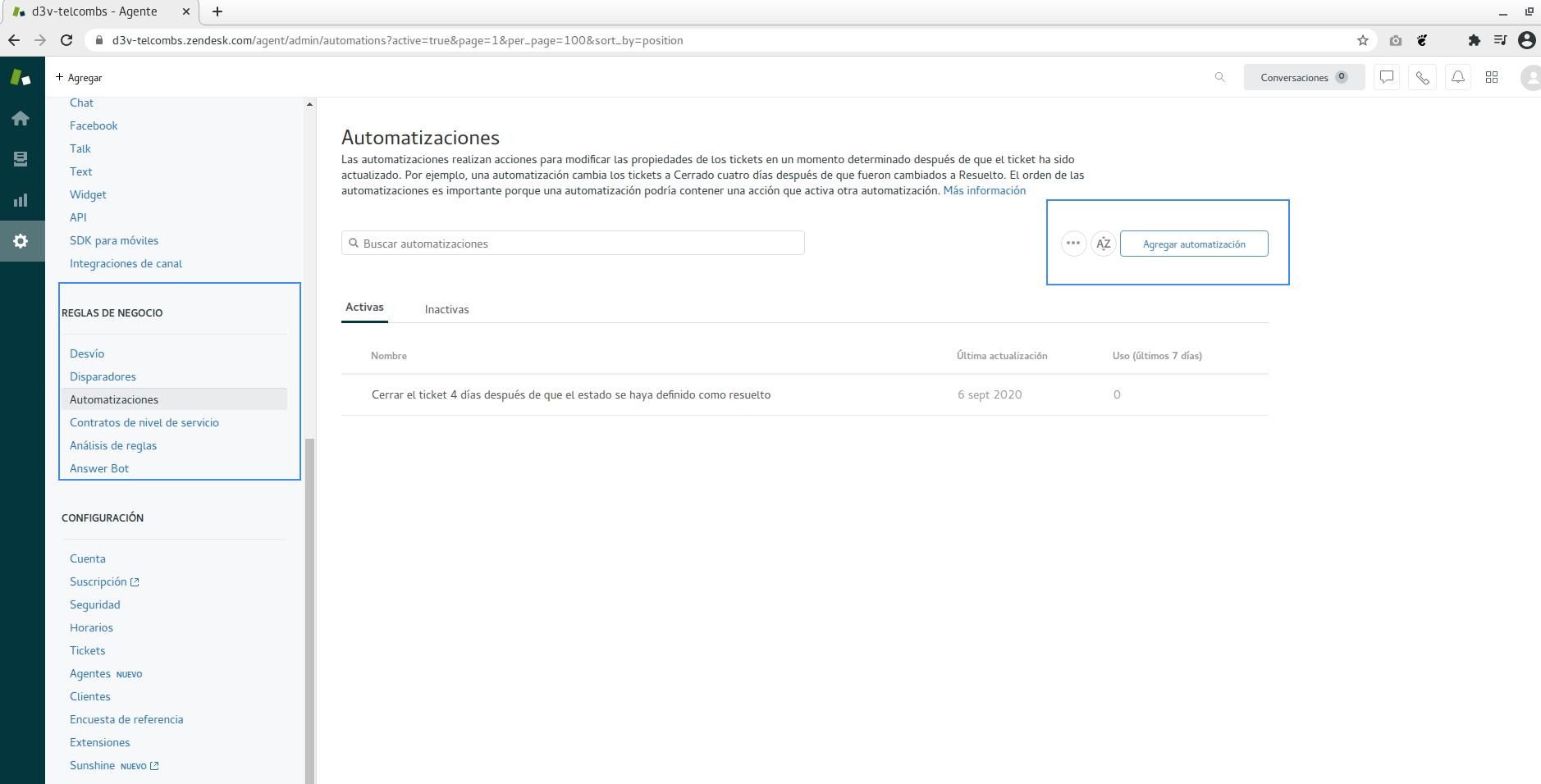Como agregar Automatizaciones en Zendesk