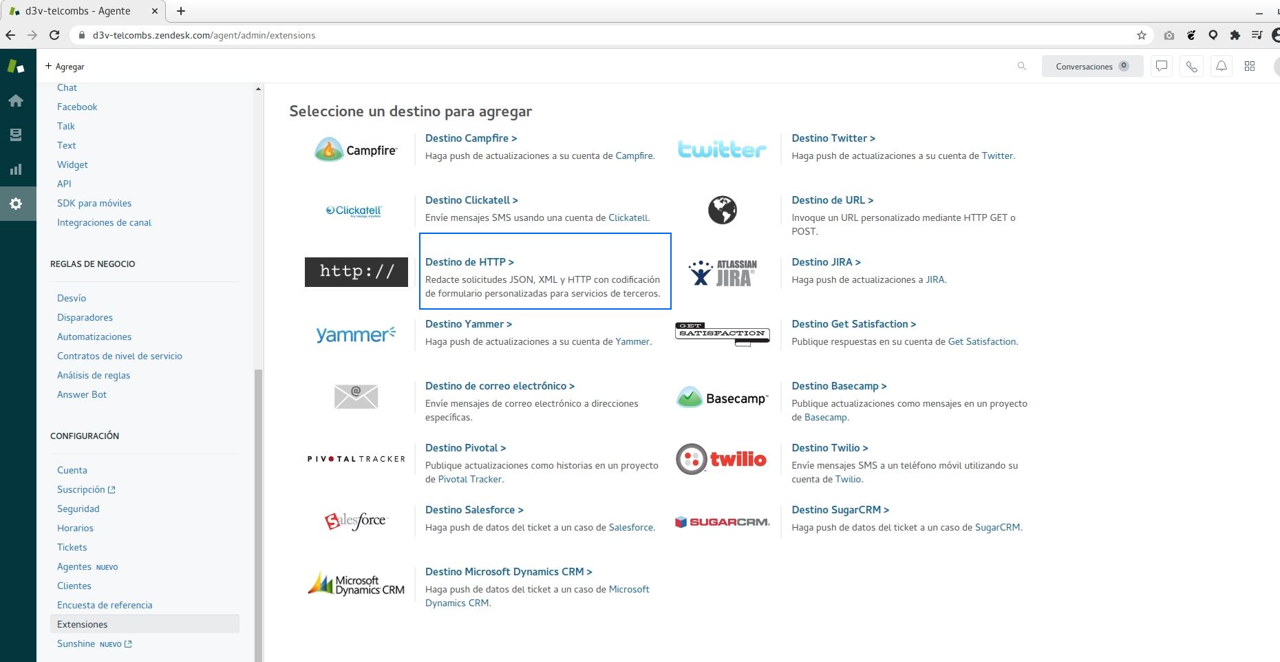configurar destino HTTP en Zendesk
