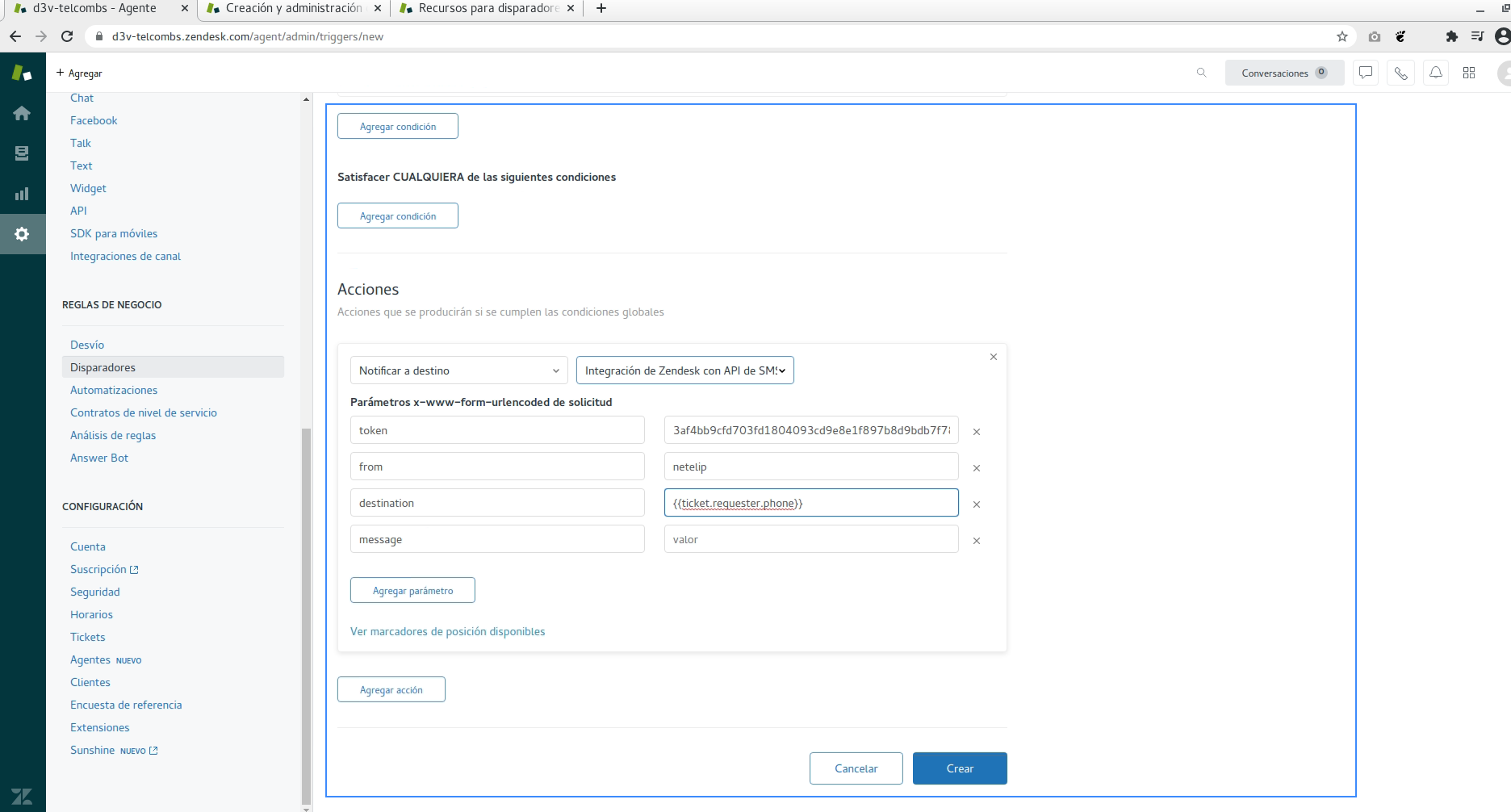 Condiciones en Zendesk para integrar API de SMS